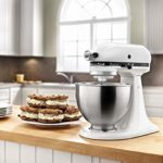 KitchenAid KSM75WH Classic Plus Series 4.5-Quart Tilt-Head Stand Mixer, White brighten up your kitchen